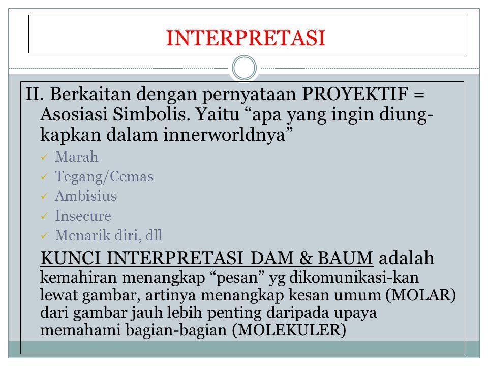 INTERPRETASI II. Berkaitan dengan pernyataan PROYEKTIF = Asosiasi Simbolis. Yaitu apa yang ingin diung- kapkan dalam innerworldnya