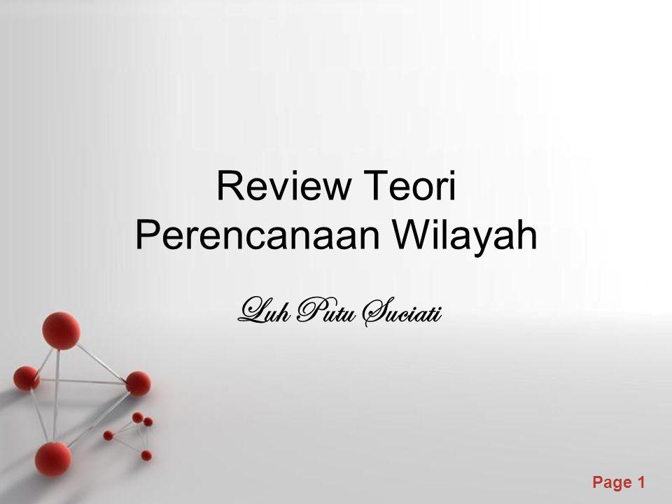 Review Teori Perencanaan Wilayah