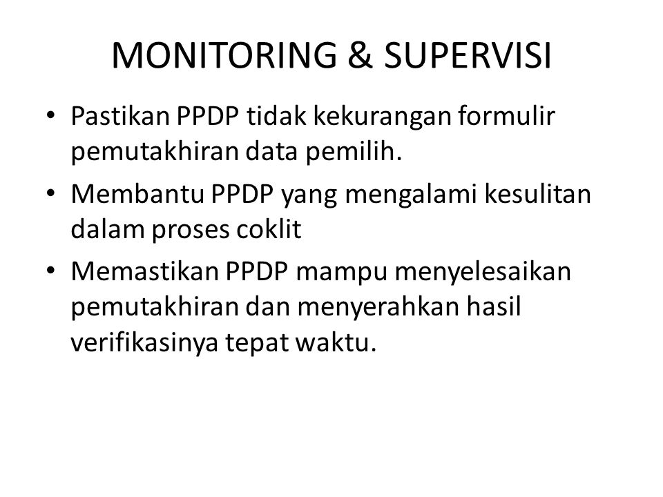 MONITORING & SUPERVISI