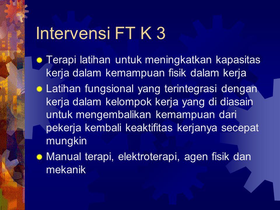 Intervensi FT K 3 Terapi latihan untuk meningkatkan kapasitas kerja dalam kemampuan fisik dalam kerja.