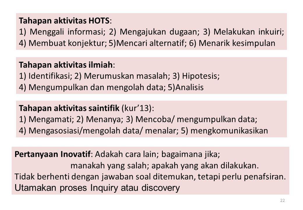Tahapan aktivitas HOTS: