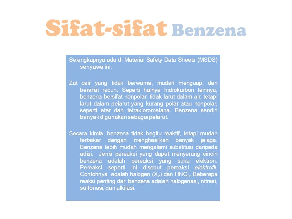 Sifat-sifat Benzena