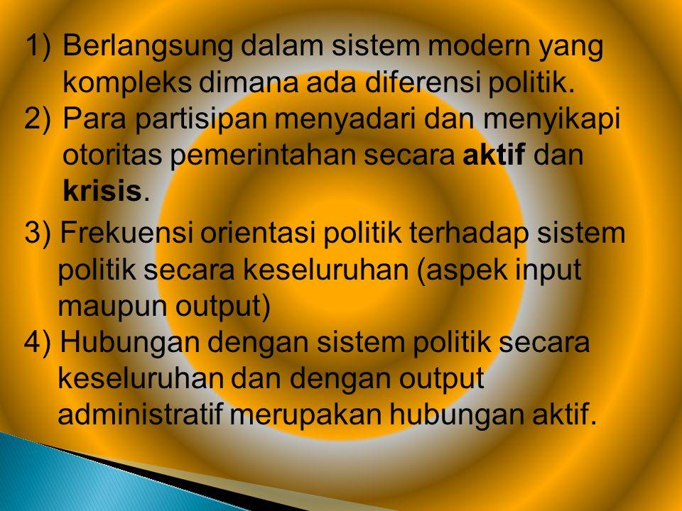 Berlangsung dalam sistem modern yang kompleks dimana ada diferensi politik.