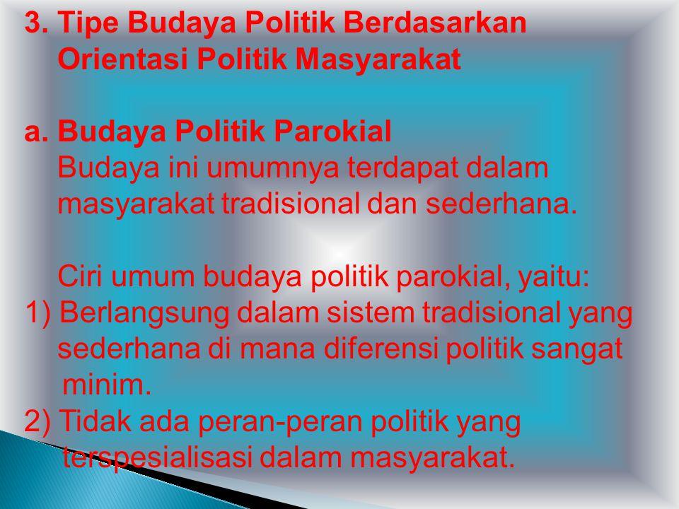 3. Tipe Budaya Politik Berdasarkan