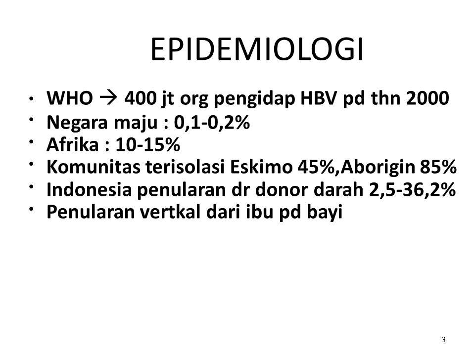 WHO  400 jt org pengidap HBV pd thn 2000 Negara maju : 0,1-0,2%