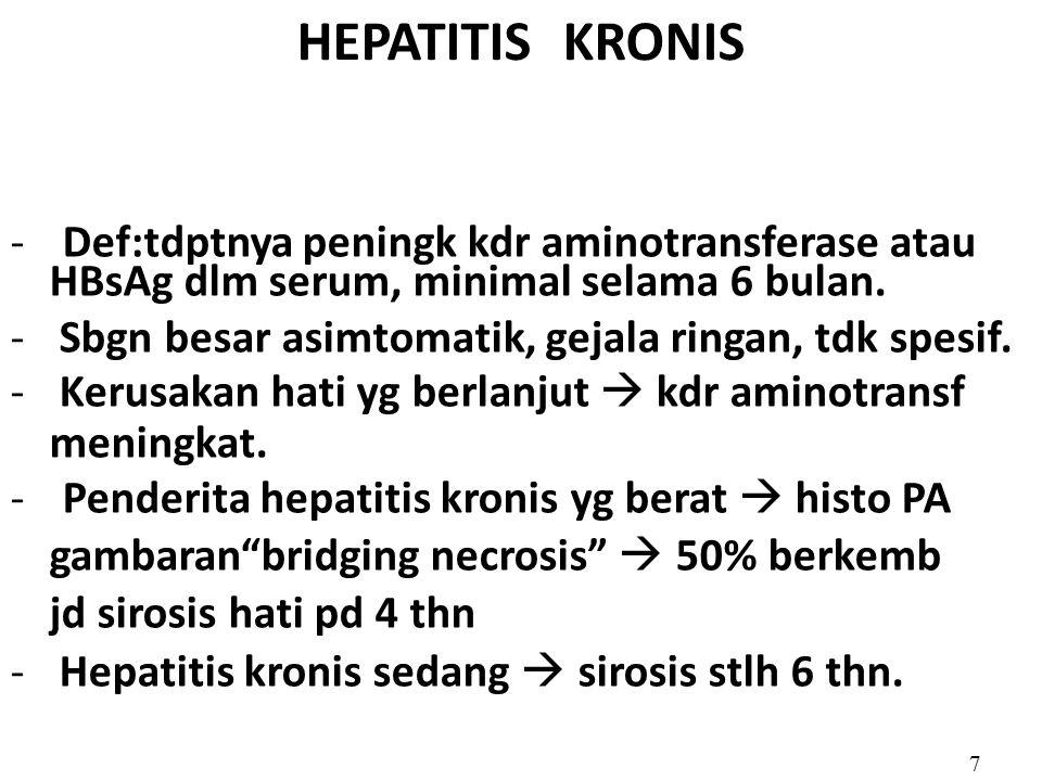 HEPATITIS KRONIS Def:tdptnya peningk kdr aminotransferase atau
