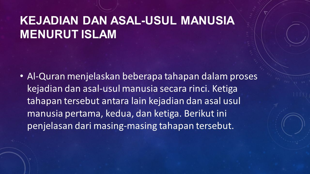 Kejadian dan Asal-Usul Manusia Menurut Islam
