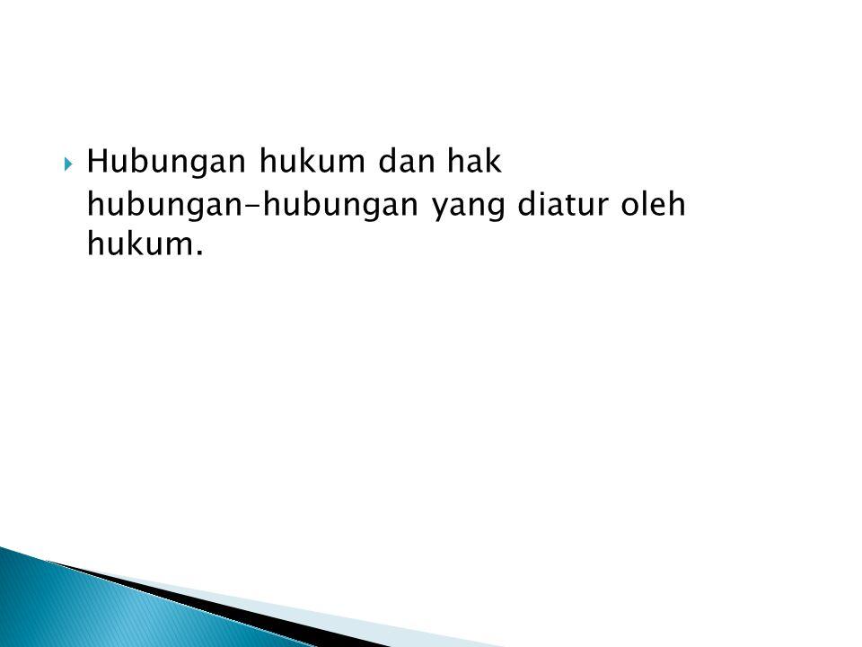 Hubungan hukum dan hak hubungan-hubungan yang diatur oleh hukum.