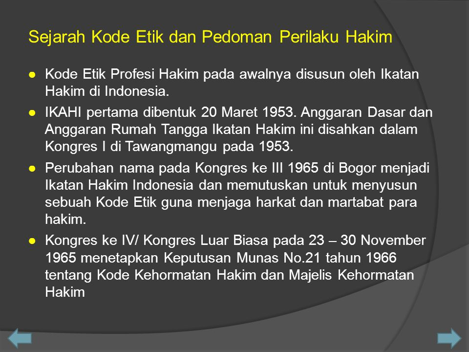 Sejarah Kode Etik dan Pedoman Perilaku Hakim