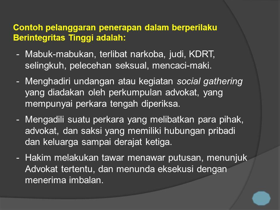 Contoh pelanggaran penerapan dalam berperilaku Berintegritas Tinggi adalah: