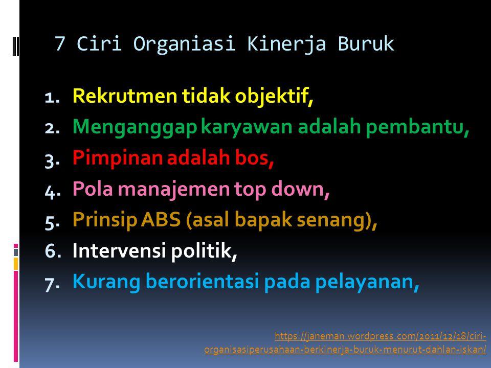 7 Ciri Organiasi Kinerja Buruk