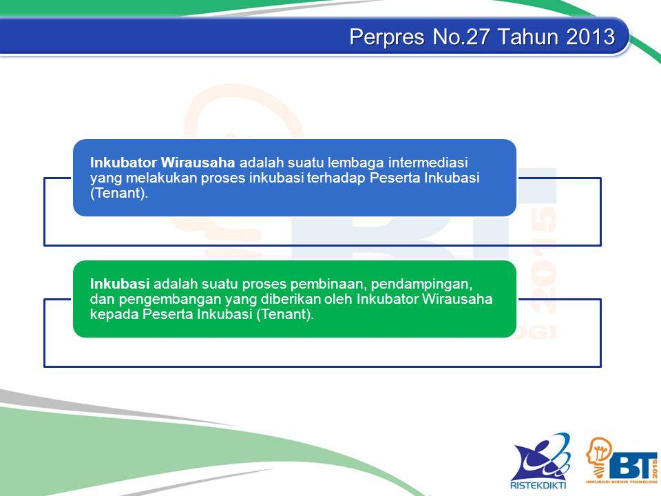 Perpres No.27 Tahun 2013 Inkubator Wirausaha adalah suatu lembaga intermediasi yang melakukan proses inkubasi terhadap Peserta Inkubasi (Tenant).