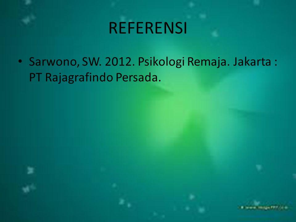 REFERENSI Sarwono, SW. 2012. Psikologi Remaja. Jakarta : PT Rajagrafindo Persada.