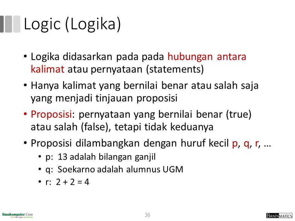 Logic (Logika) Logika didasarkan pada pada hubungan antara kalimat atau pernyataan (statements)