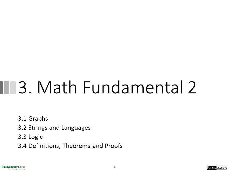 3. Math Fundamental 2 3.1 Graphs 3.2 Strings and Languages 3.3 Logic