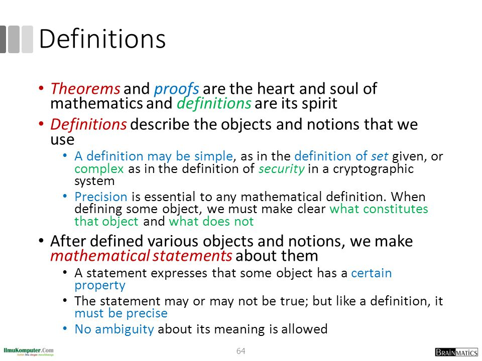 Definitions Theorems and proofs are the heart and soul of mathematics and definitions are its spirit.