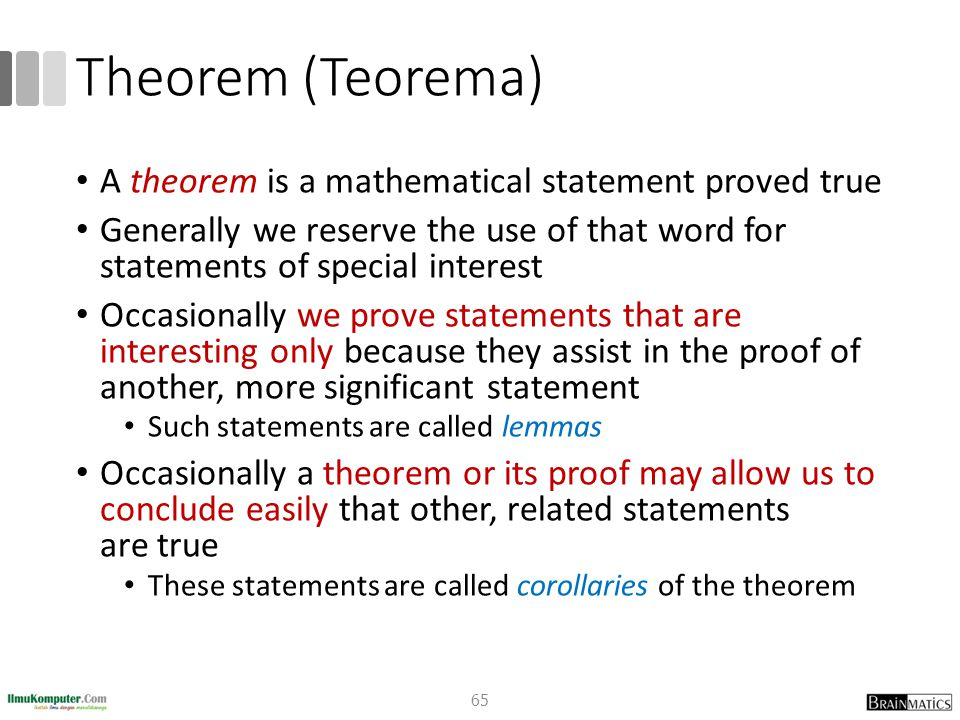 Theorem (Teorema) A theorem is a mathematical statement proved true