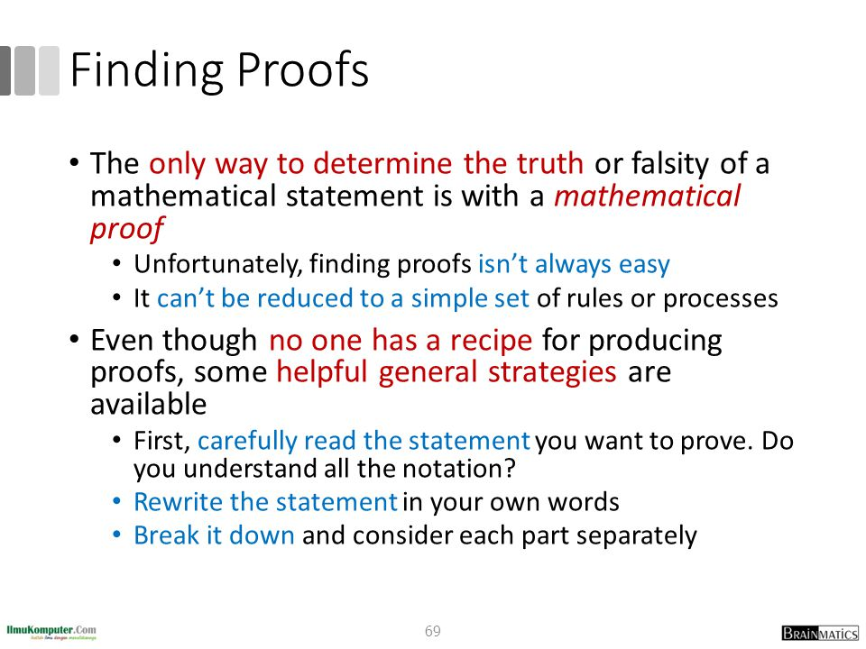 Finding Proofs The only way to determine the truth or falsity of a mathematical statement is with a mathematical proof.