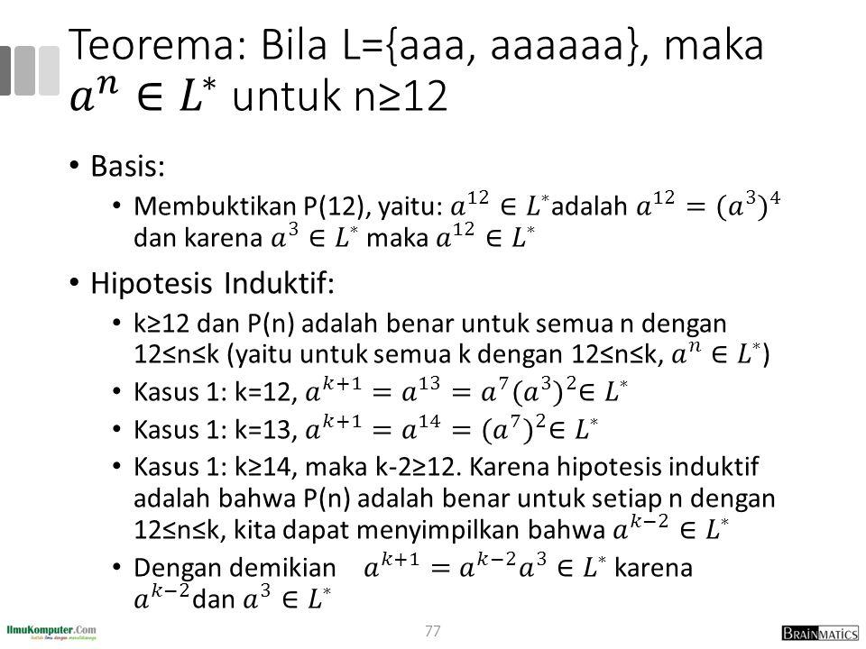 Teorema: Bila L={aaa, aaaaaa}, maka 𝑎 𝑛 ∈ 𝐿 ∗ untuk n≥12