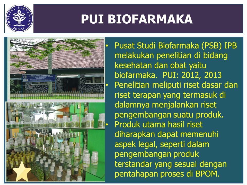 PUI BIOFARMAKA Pusat Studi Biofarmaka (PSB) IPB melakukan penelitian di bidang kesehatan dan obat yaitu biofarmaka. PUI: 2012, 2013.