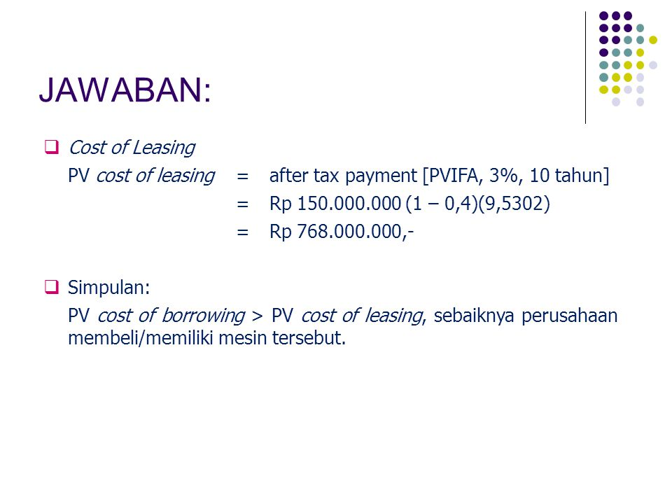 JAWABAN: Cost of Leasing