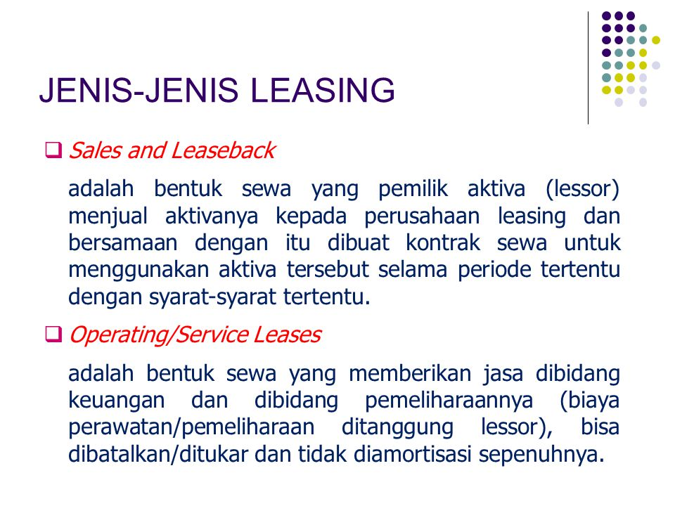 JENIS-JENIS LEASING Sales and Leaseback