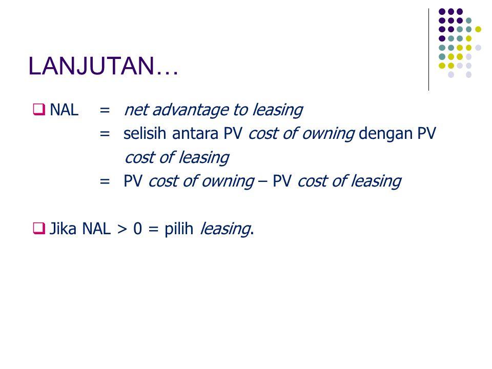LANJUTAN… NAL = net advantage to leasing