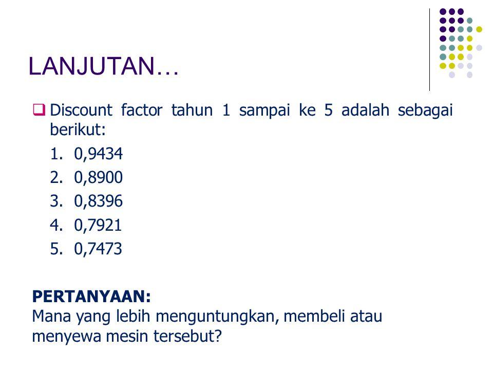LANJUTAN… Discount factor tahun 1 sampai ke 5 adalah sebagai berikut: