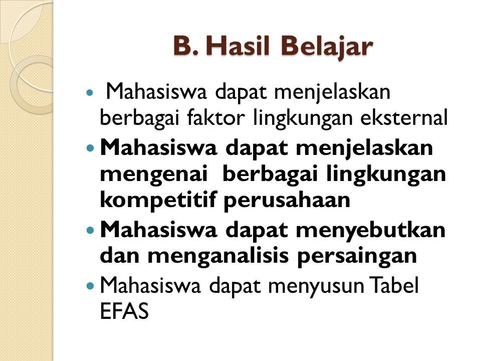 B. Hasil Belajar Mahasiswa dapat menjelaskan berbagai faktor lingkungan eksternal.