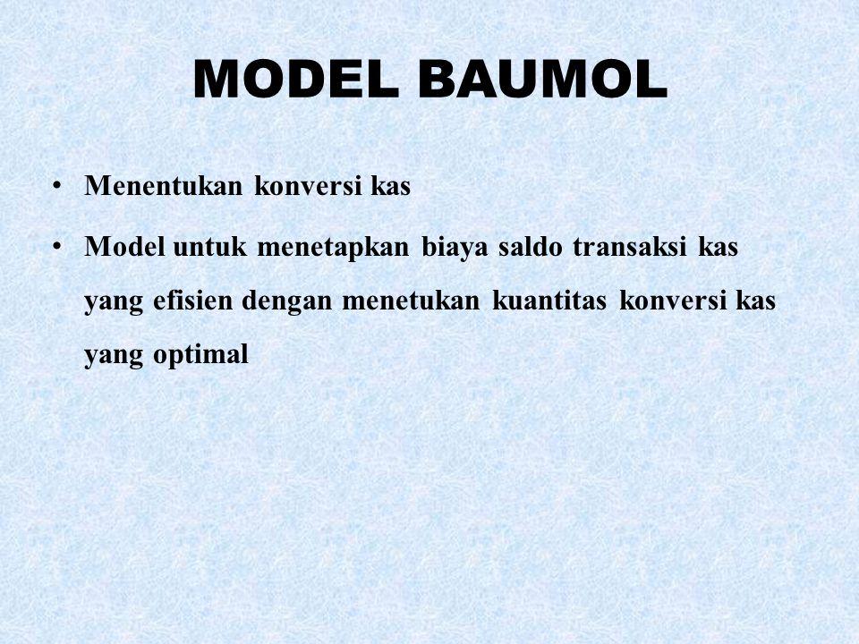 MODEL BAUMOL Menentukan konversi kas