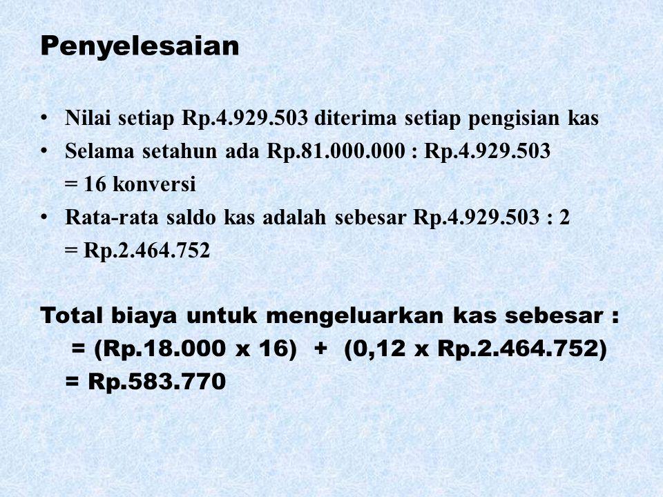 Penyelesaian Nilai setiap Rp.4.929.503 diterima setiap pengisian kas