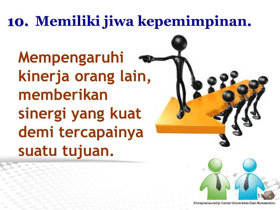 10. Memiliki jiwa kepemimpinan.
