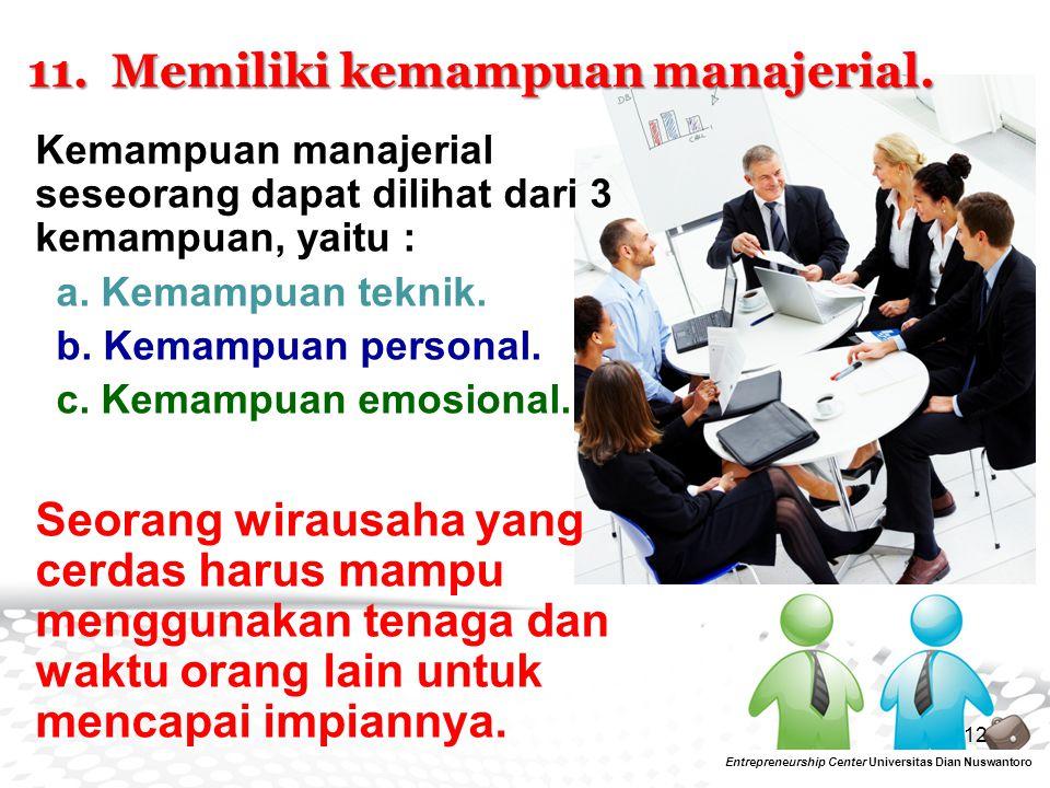 11. Memiliki kemampuan manajerial.