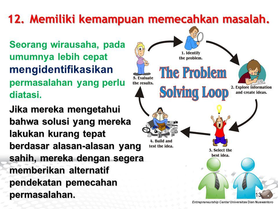 12. Memiliki kemampuan memecahkan masalah.