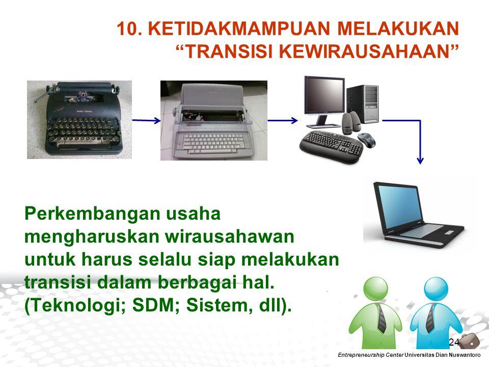 10. KETIDAKMAMPUAN MELAKUKAN TRANSISI KEWIRAUSAHAAN