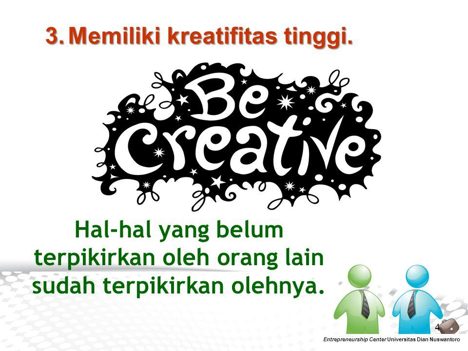 3. Memiliki kreatifitas tinggi.