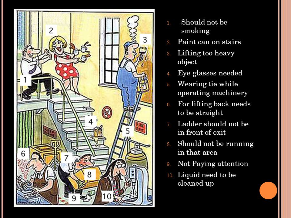 Should not be smoking Paint can on stairs. Lifting too heavy object. Eye glasses needed. Wearing tie while operating machinery.