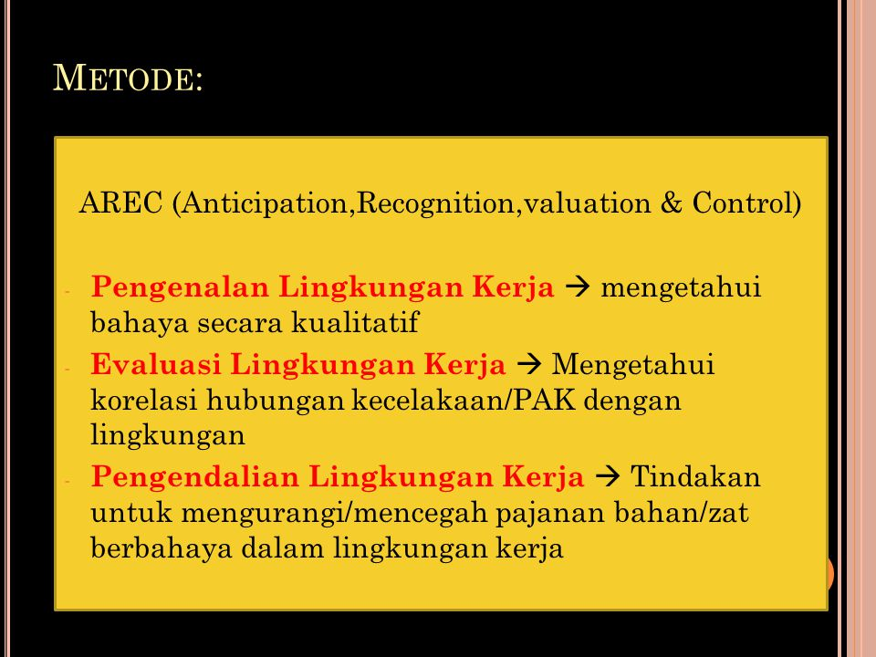 AREC (Anticipation,Recognition,valuation & Control)