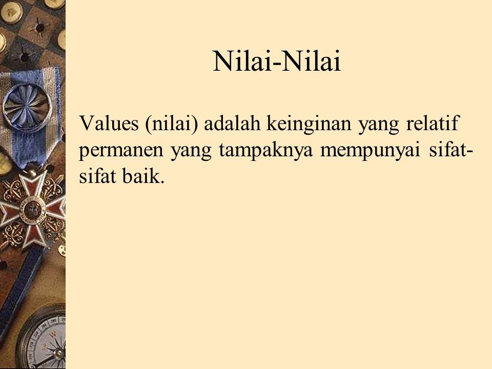 Nilai-Nilai Values (nilai) adalah keinginan yang relatif permanen yang tampaknya mempunyai sifat-sifat baik.