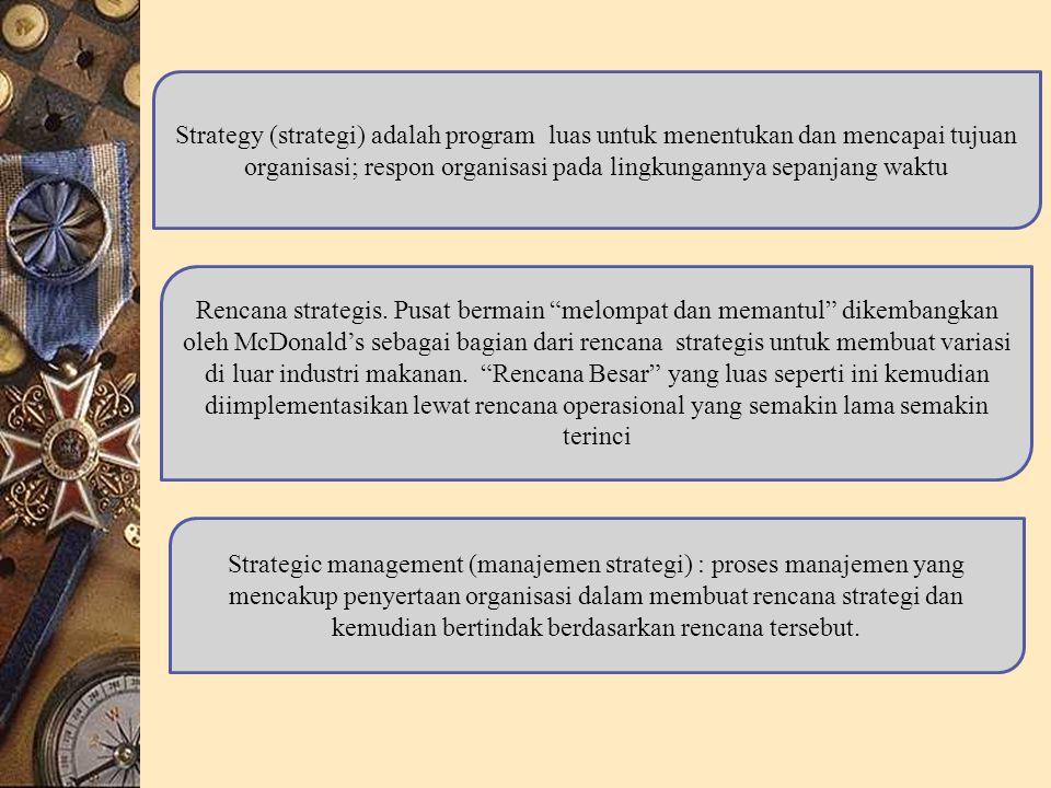 Strategy (strategi) adalah program luas untuk menentukan dan mencapai tujuan organisasi; respon organisasi pada lingkungannya sepanjang waktu