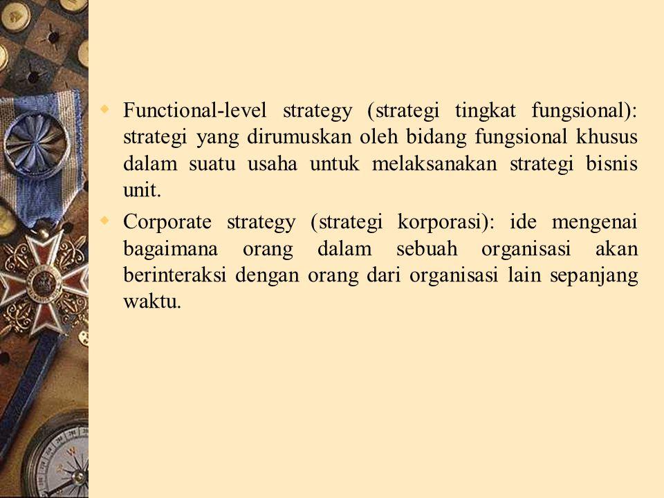 Functional-level strategy (strategi tingkat fungsional): strategi yang dirumuskan oleh bidang fungsional khusus dalam suatu usaha untuk melaksanakan strategi bisnis unit.