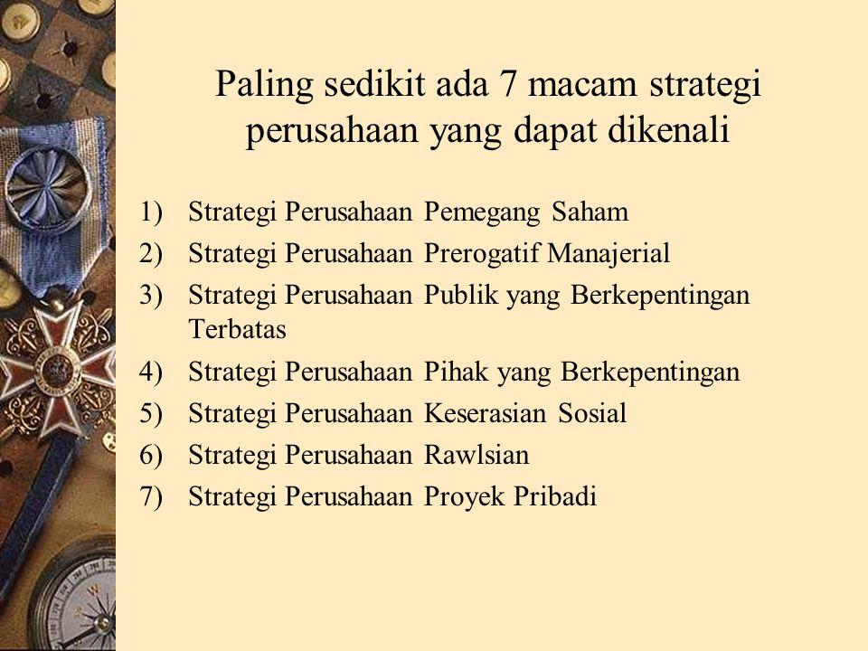 Paling sedikit ada 7 macam strategi perusahaan yang dapat dikenali
