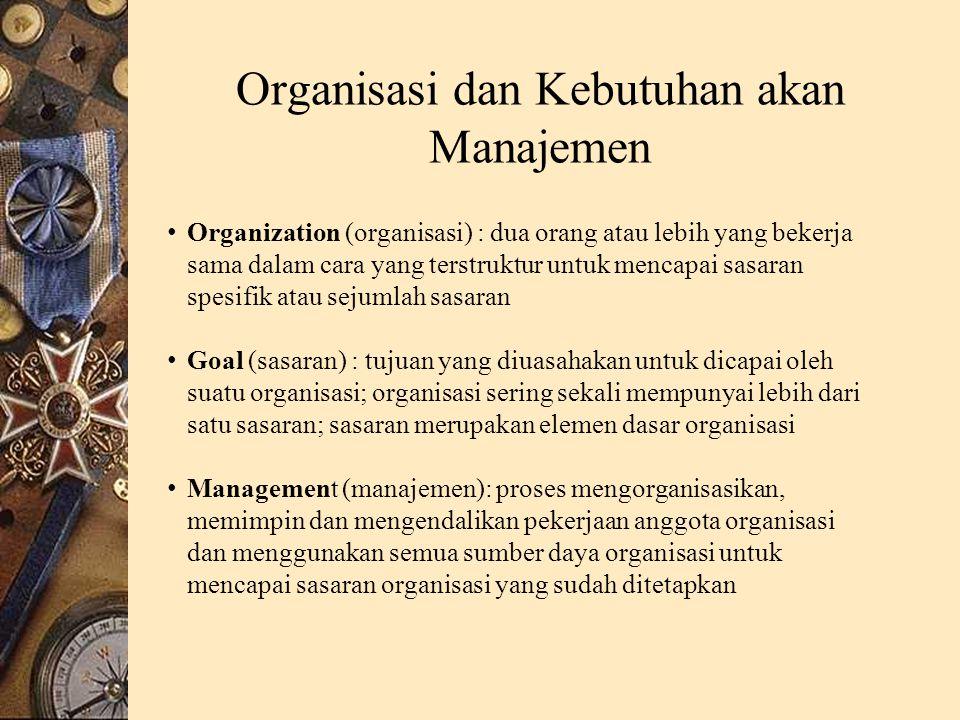 Organisasi dan Kebutuhan akan Manajemen