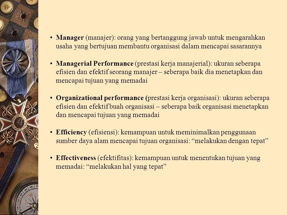 Manager (manajer): orang yang bertanggung jawab untuk mengarahkan usaha yang bertujuan membantu organisasi dalam mencapai sasarannya