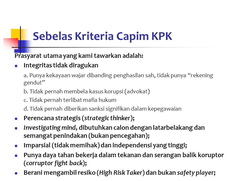 Sebelas Kriteria Capim KPK
