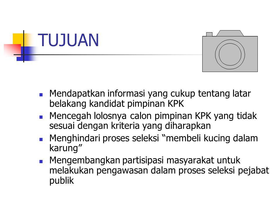 TUJUAN Mendapatkan informasi yang cukup tentang latar belakang kandidat pimpinan KPK.
