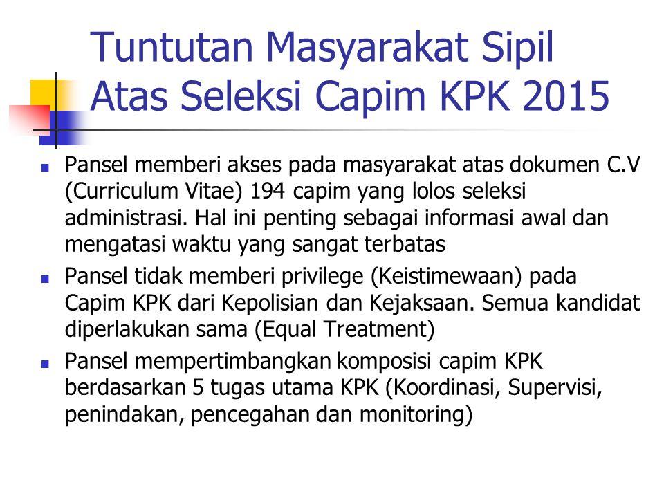 Tuntutan Masyarakat Sipil Atas Seleksi Capim KPK 2015