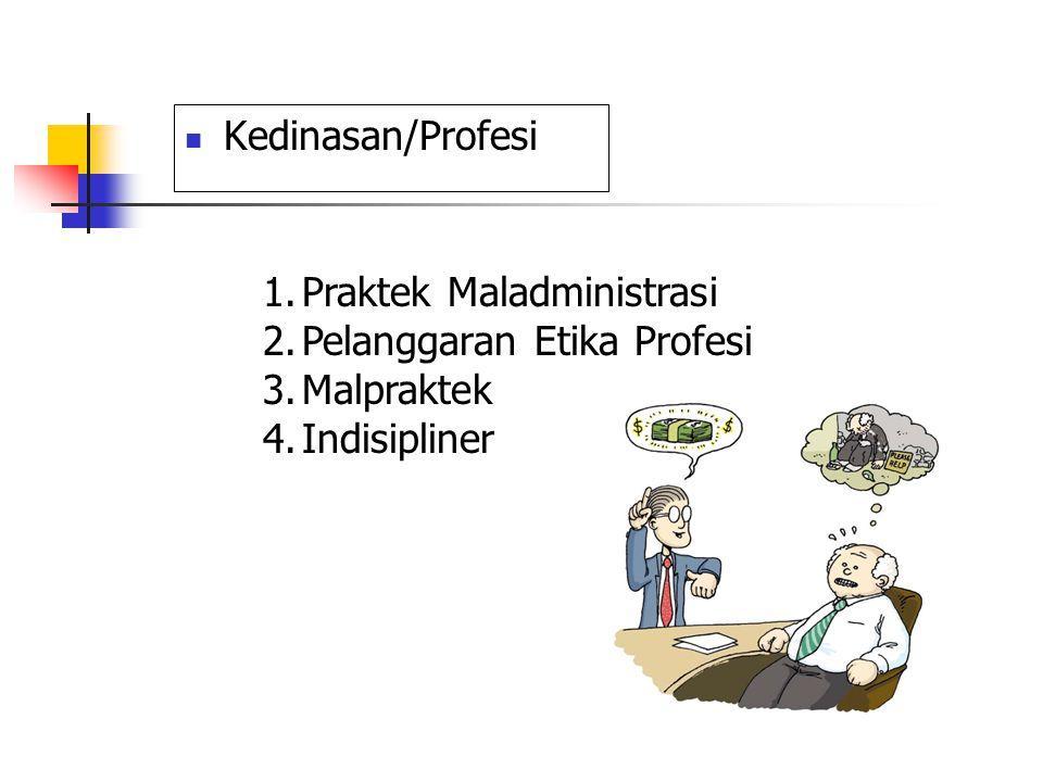 Kedinasan/Profesi Praktek Maladministrasi Pelanggaran Etika Profesi Malpraktek Indisipliner