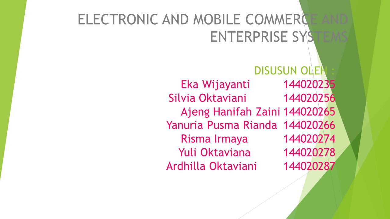 ELECTRONIC AND MOBILE COMMERCE AND ENTERPRISE SYSTEMS