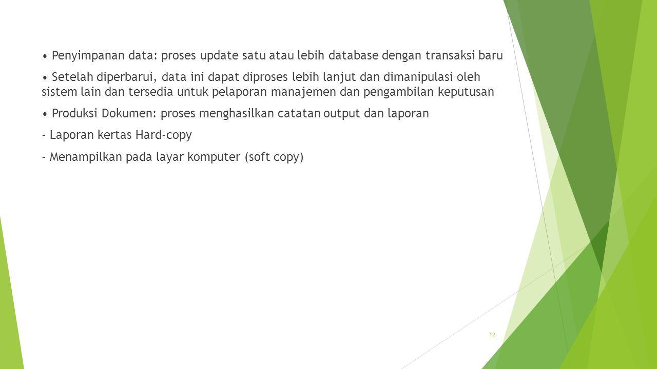 • Penyimpanan data: proses update satu atau lebih database dengan transaksi baru